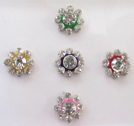 On sale 5 beautiful colored round bindi in one pack studded with rhinestones indian india bindis bindi stickers face jewels