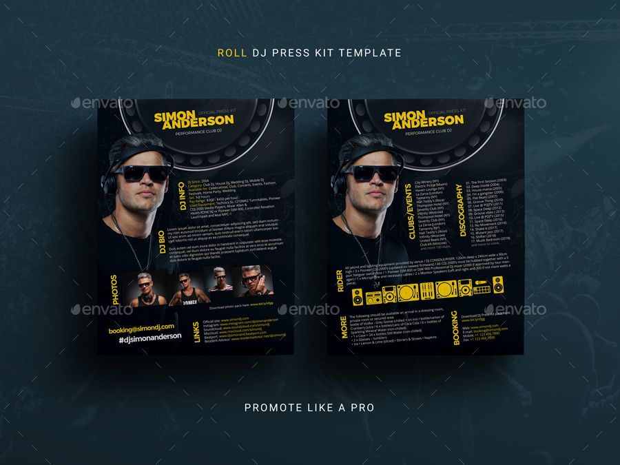 Roll Dj Press Kit Dj Resume Dj Rider Psd Template Press Kit Psd Templates Press Kit Template