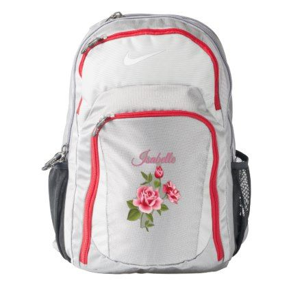 5e4577805a Cute Pink Roses Nike Performance Backpack - monogram gifts unique design  style monogrammed diy cyo customize