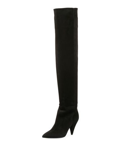94b22f7928e X437U Saint Laurent Era Suede Over-the-Knee Boot