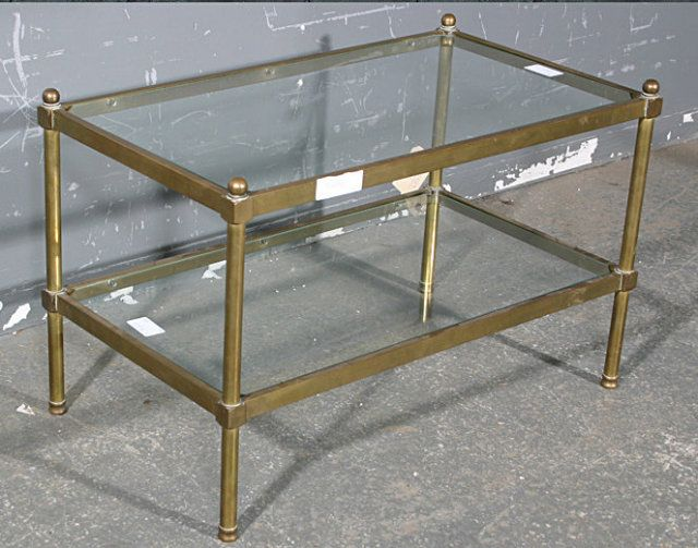 Perfect RARE BAGUES TUBULAR BRASS GLASS COFFEE TABLE RARE SIZE For Sale |  Antiques.com | Classifieds