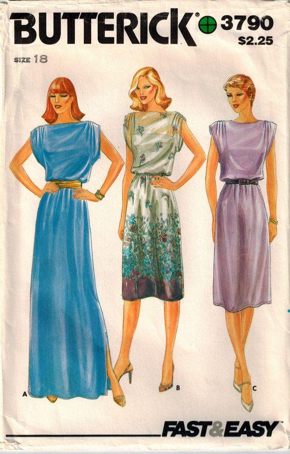 1970s Dress Pattern Butterick 3790 Gathered Shoulder Cap Sleeve Day ...