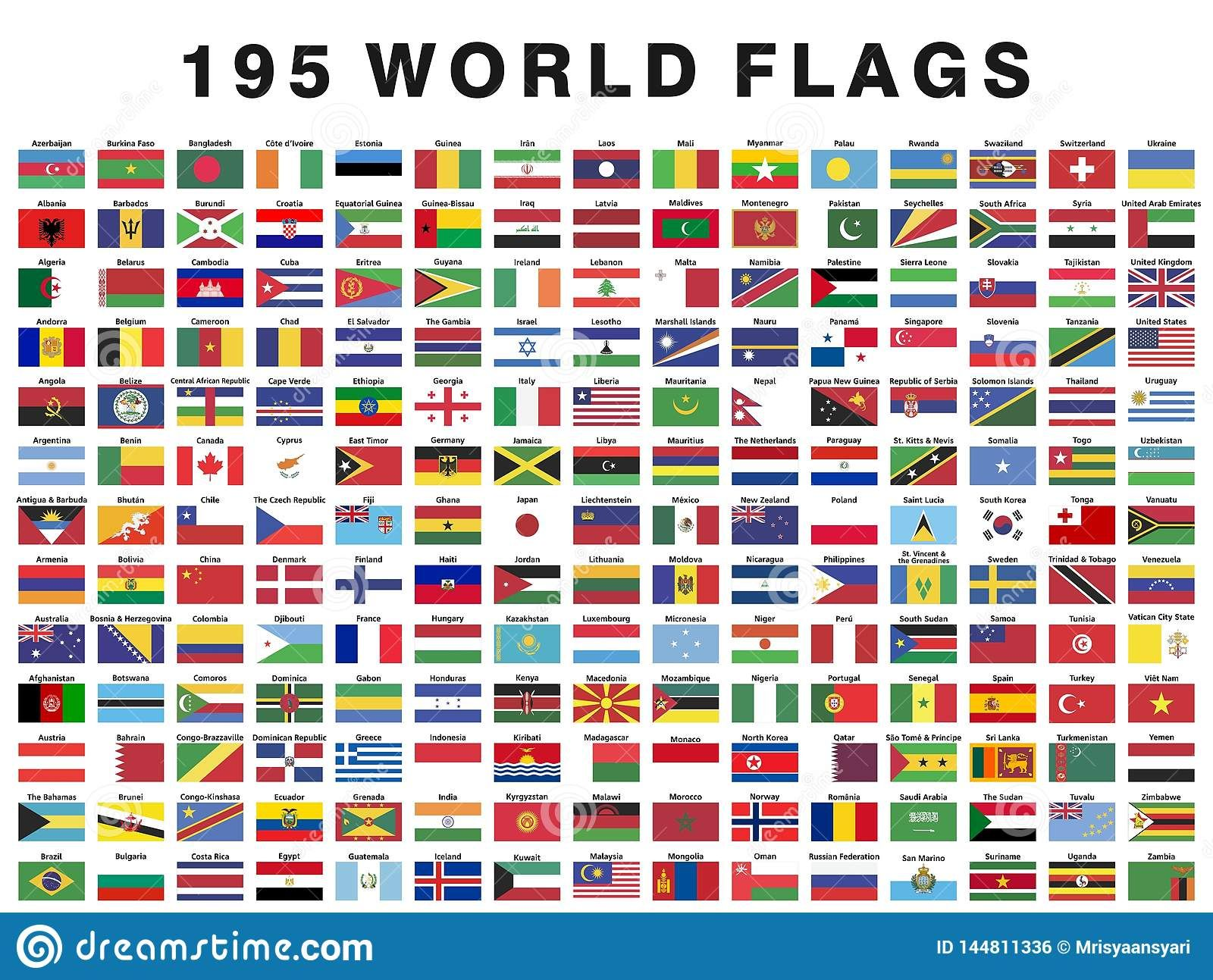 Illustration About Collection Set A Illustrator Vector Of 195 Flags Of The World With Their N Flags Of The World World Flags With Names Country Flags And Names