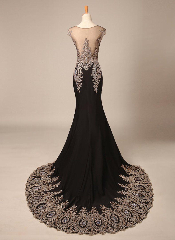 Bridal_Mall Damen Elegant Schwarz Elastisch Abendkleid Lang mit