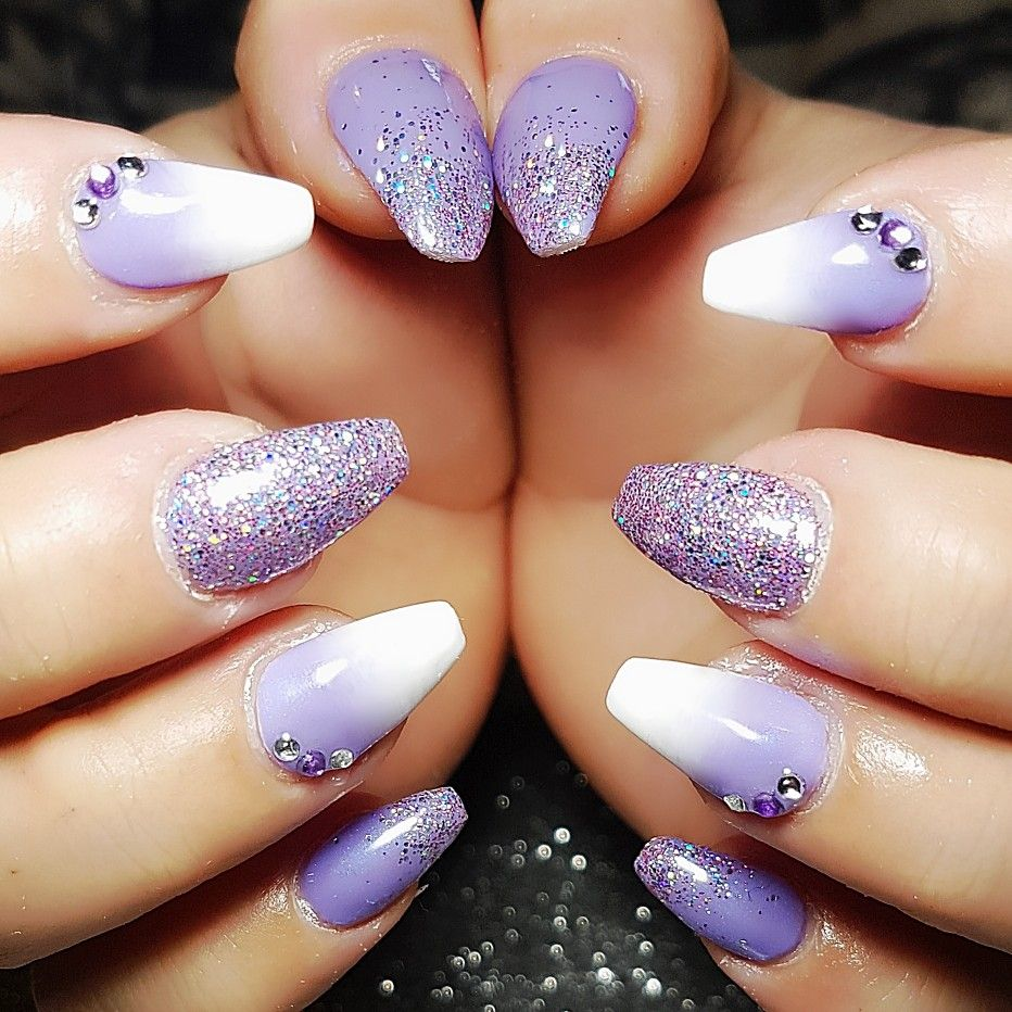 Purple And White Ombre With Glitter And Gems Purple Ombre Nails Ombre Gel Nails Purple Glitter Nails