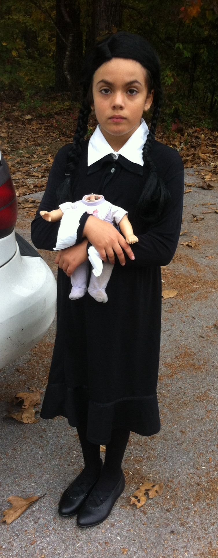 DIY Wednesday Addams costume on my lovely daughter
