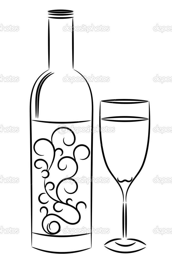 Line Art Jug : Depositphotos wine bottle and glass g