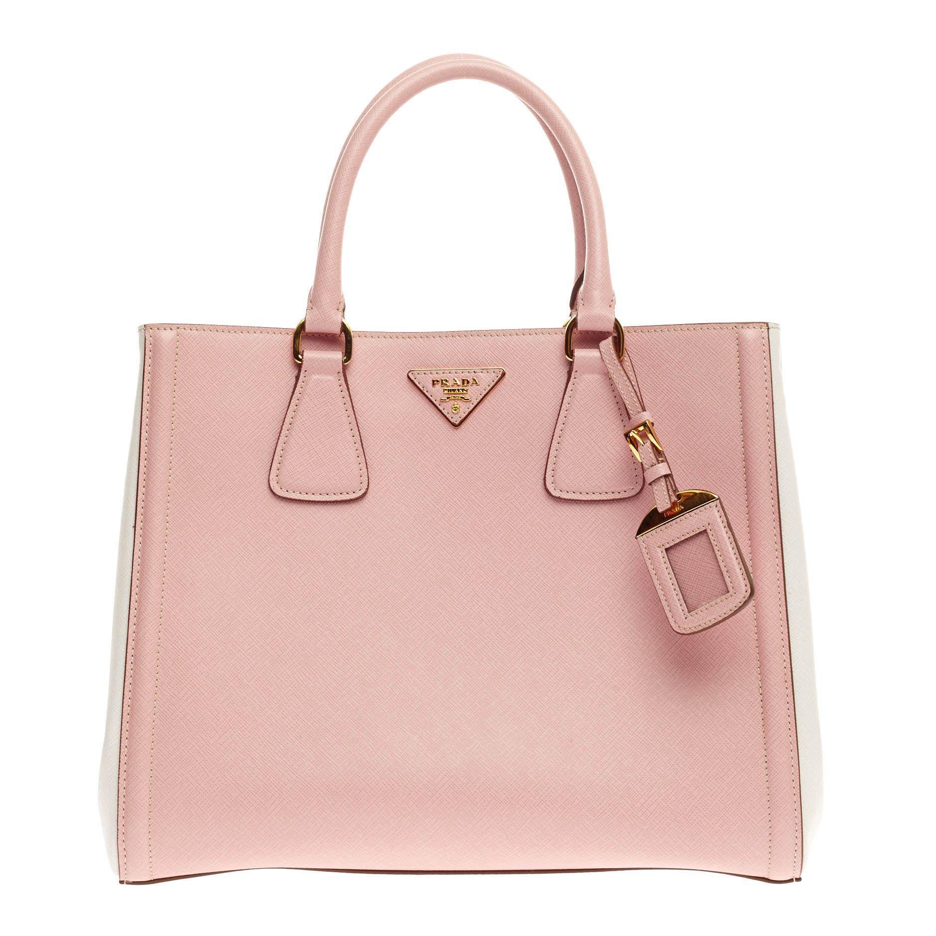 c46487c99ca9 ... clearance prada bicolor lux saffiano pink leather small tote bag 92948  05fec ...