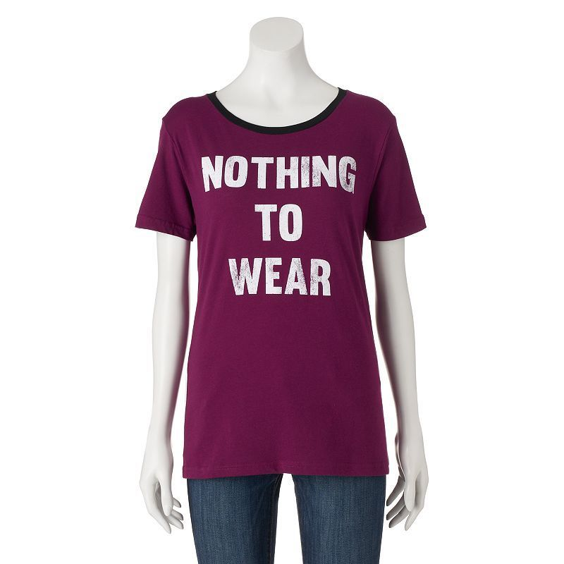 """Juniors' """"Nothing To Wear"""" Graphic Tee, Girl's, Size:"""