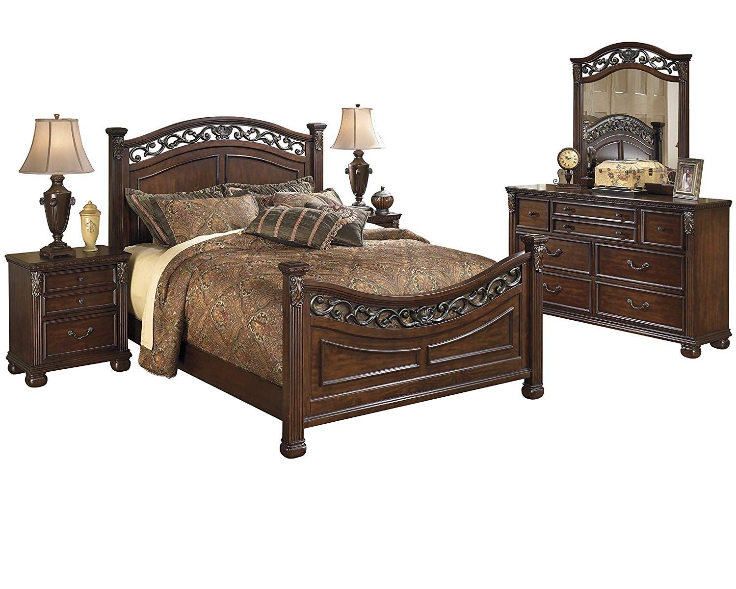 Ashley Leahlyn 5pc Bedroom Set E King Panel Bed Dresser Mirror Two Nightstand In Warm Brown