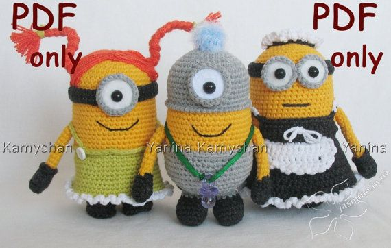 Cute+little+yellow+monsters+crocheted+amigurumi+PDF+by+jasminetoys,+ ...