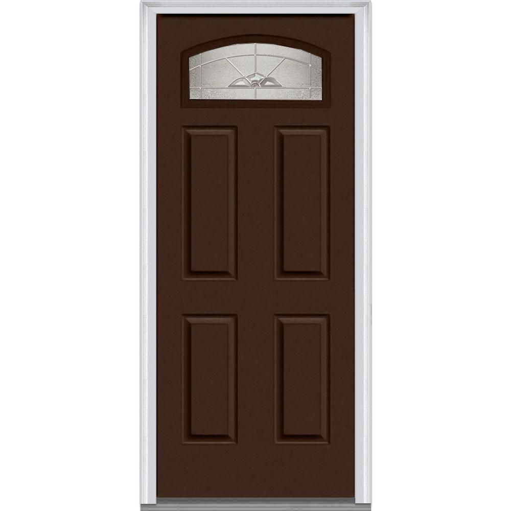 Milliken Millwork 31 5 In X 81 75 In Master Nouveau Decorative Glass Segmented 1 4 Lite 4 Panel Painted Majestic Steel Exterior Door Pol Prehung Doors Doors Steel Doors