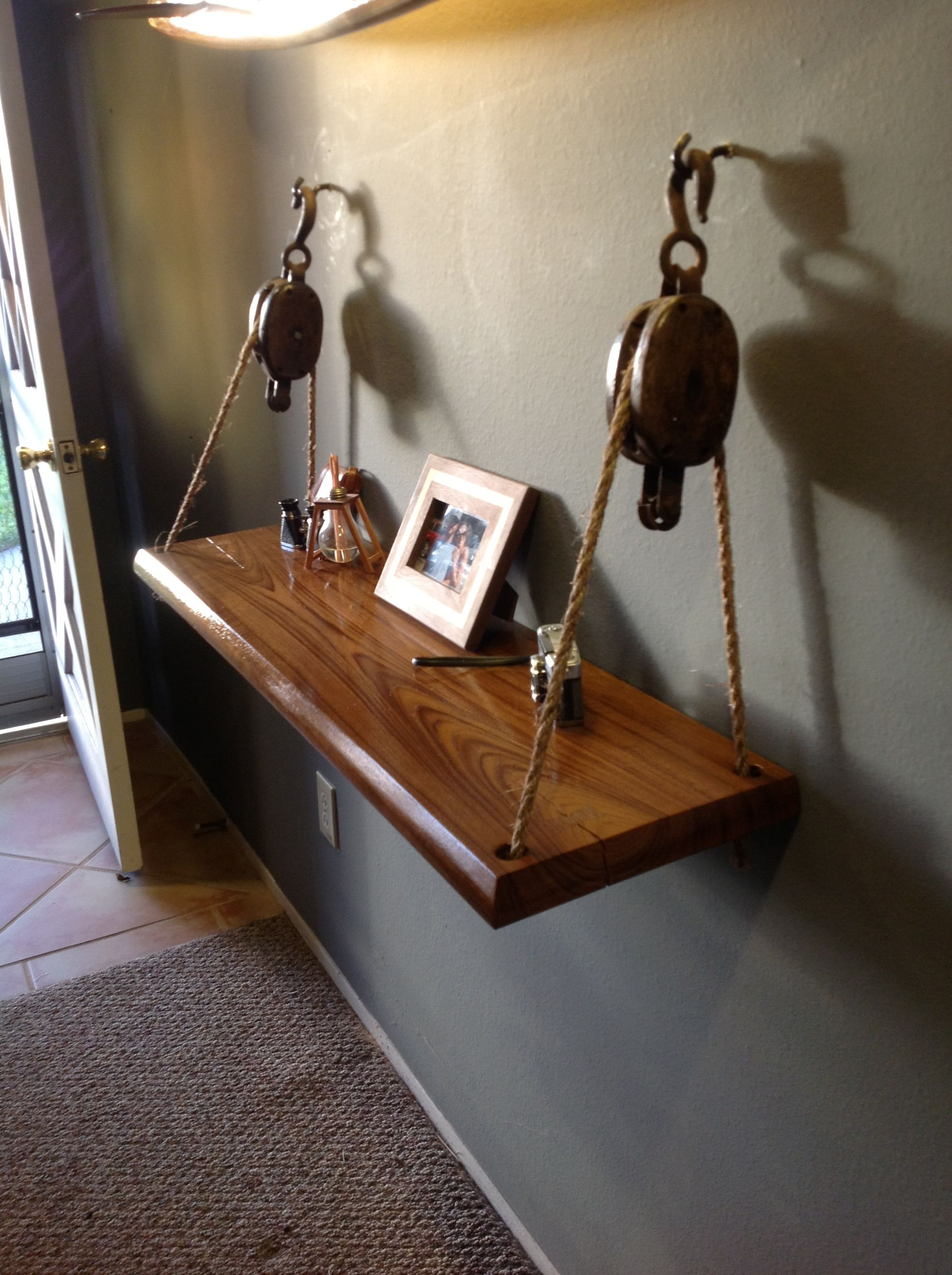 Weekend Project Made A Hanging Shelf From A Slab Of Teak And Some Old Barn Pulleys Decor