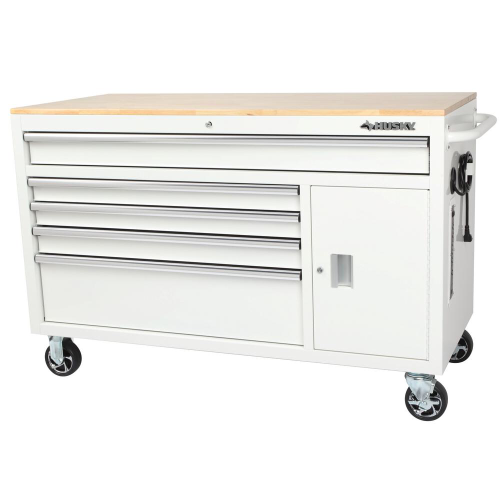 Husky 56 In W 5 Drawer 1 Door Deep Tool Chest Mobile Workbench In Gloss White With Hardwood Top H56mwc5gwxd The Home Depot Mobile Workbench Tool Chest Workbench