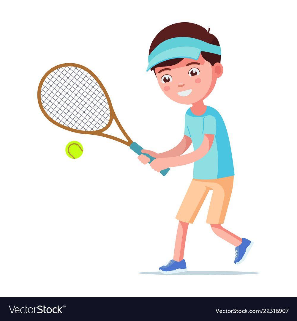 Cartoon Boy Playing Tennis Vector Image On Vectorstock Cartoon Boy Boys Playing Cartoon
