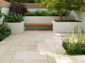 Moderne terrassengestaltung  Moderne Terrassengestaltung mit Sandsteinplatten in verschiedenen ...