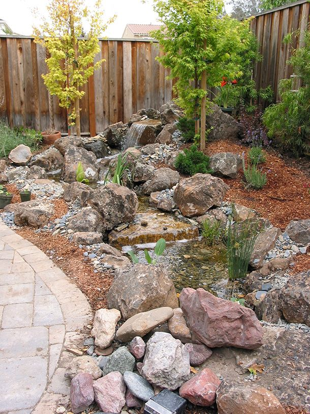 pondless waterfall with stream   Morgan Hill Pondless ... on Small Pond Waterfall Ideas id=90436