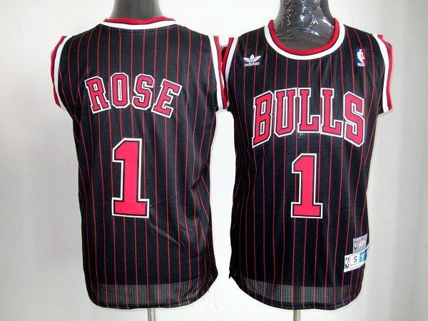 fe0539f52a20 Men s NBA Chicago Bulls  1 Derrick Rose Black Jersey
