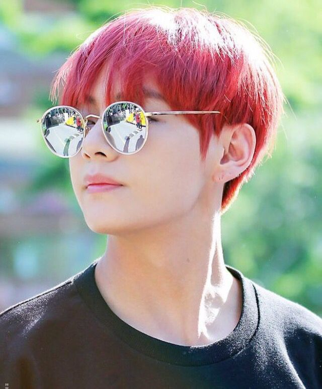 Bts Jungkook Glasses Wallpaper: Taehyung With Red Hair And Glasses