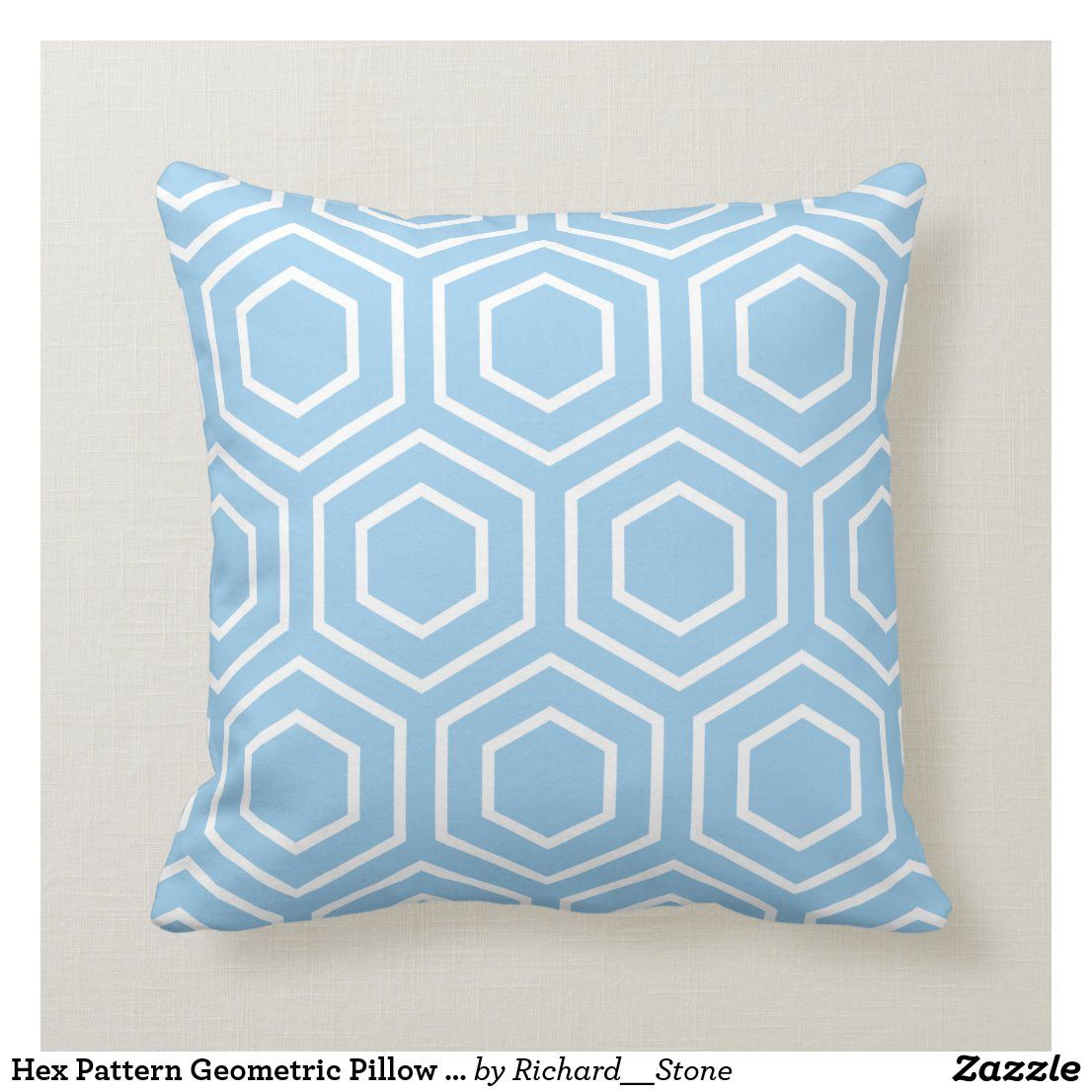 Hex Pattern Geometric Pillow In Sky Blue Zazzle Com In 2020 Geometric Pillow Blue Pillows Decorative Pillows