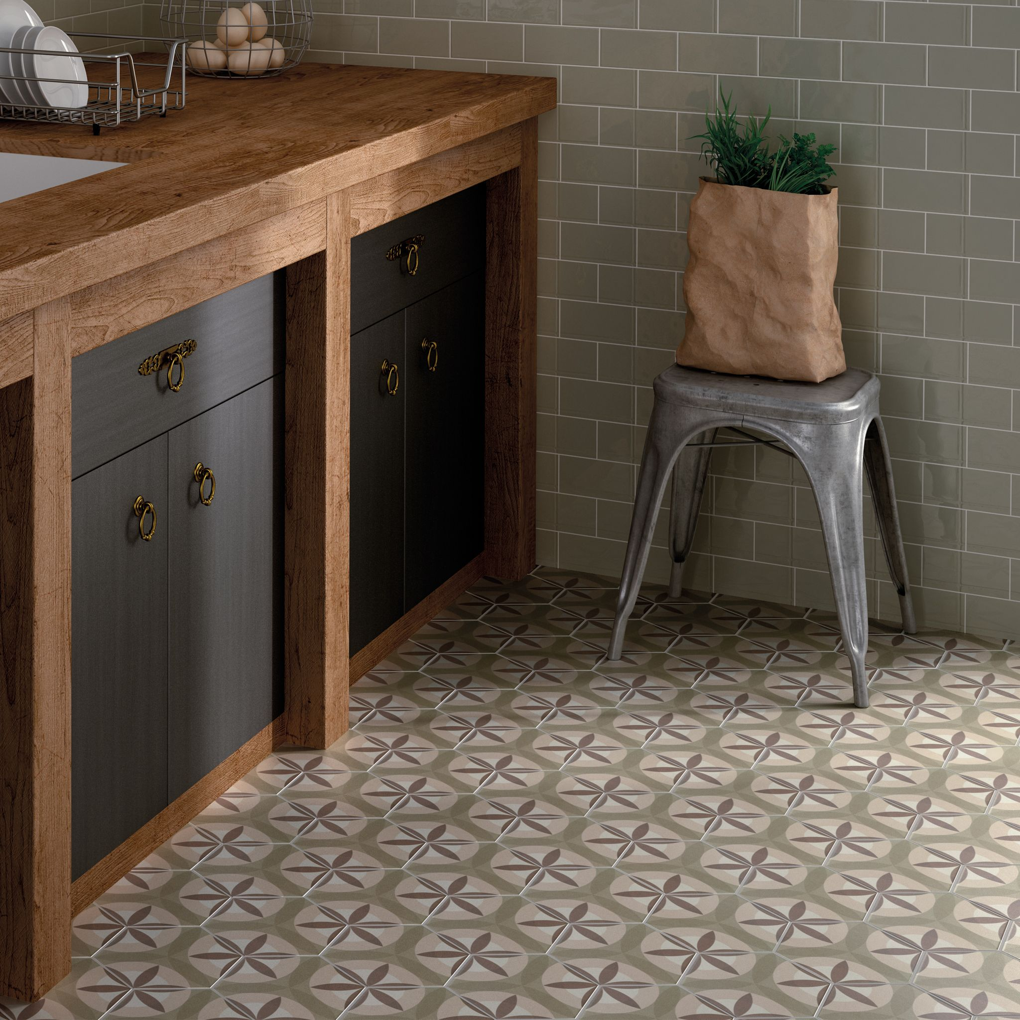Küchen Dekorplatte Hexagon Leaf Cream Pattern Reto Tiles Used As Kitchen