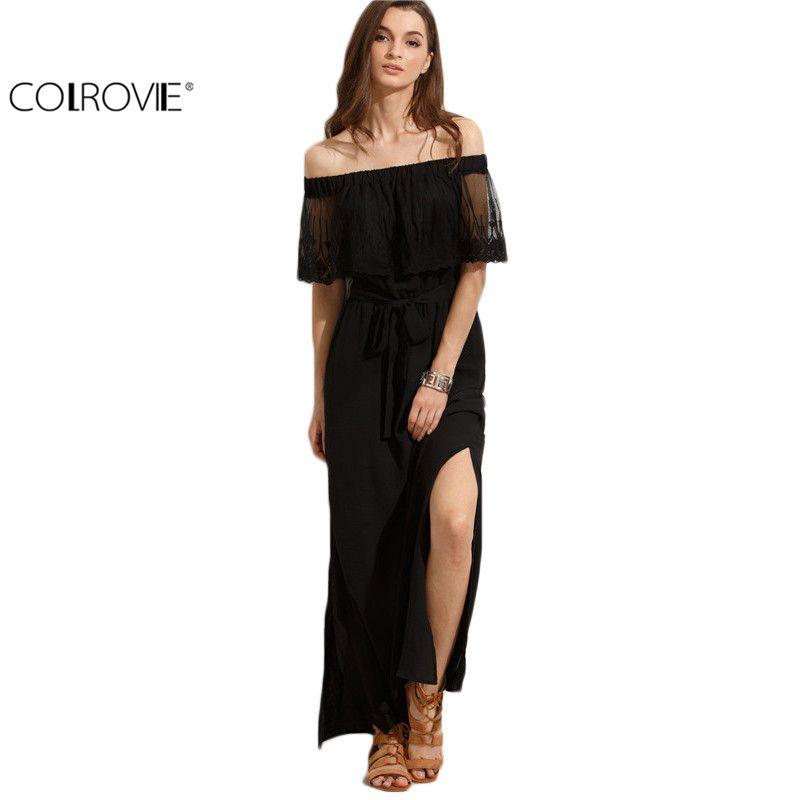 022e23114110 Shoulder · Beach Wear Ladies Summer Black Off The Shoulder Split Half  Sleeve Tie Waist Straight Long Maxi