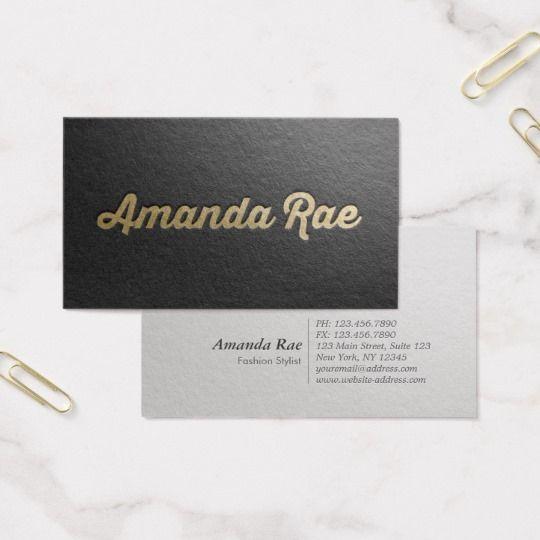Minimal black gold embossed text fashion stylist business card minimal black gold embossed text fashion stylist business card reheart Image collections