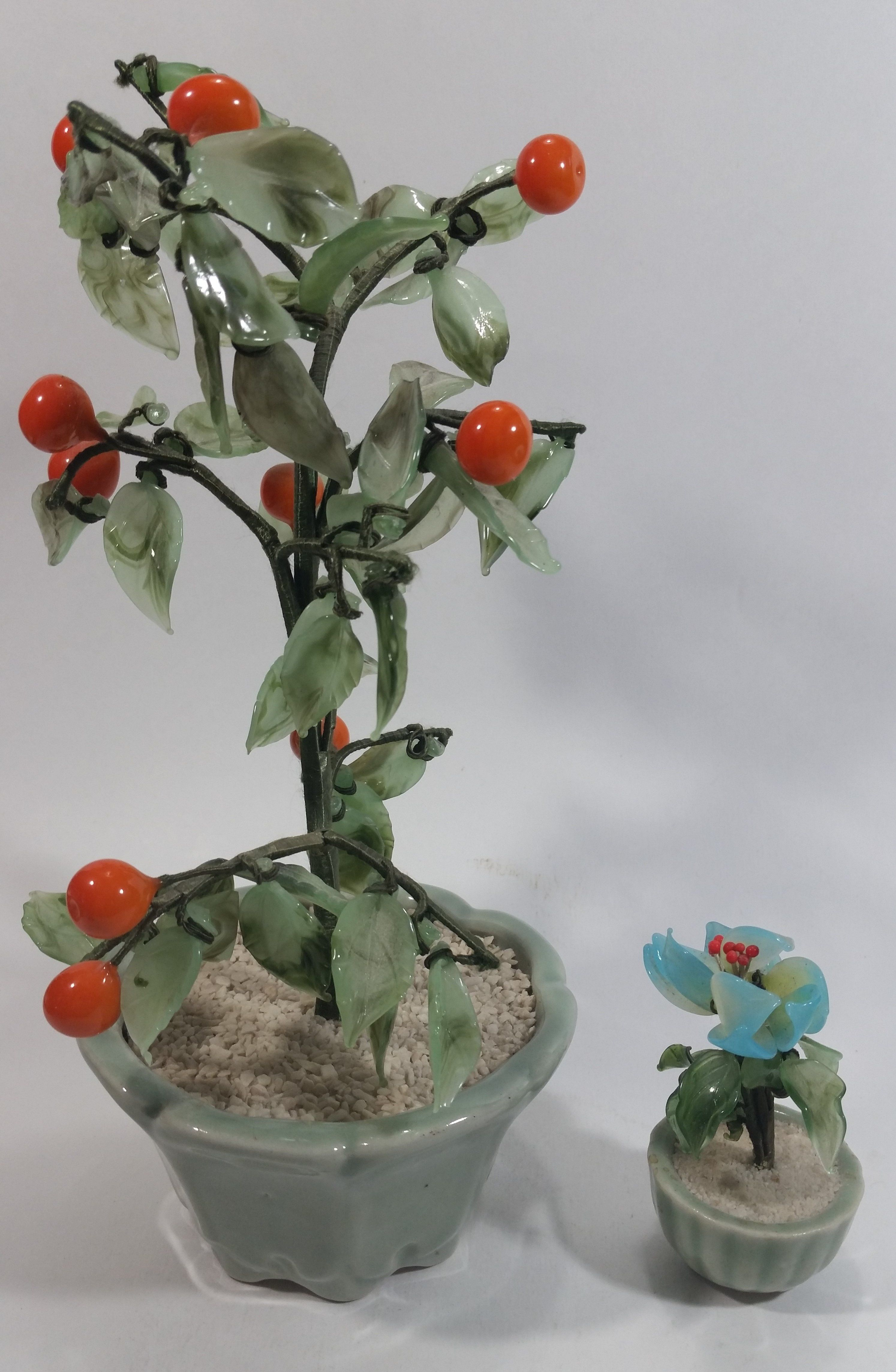 Set of 2 Artificial Glass Fruit Vegetable Tomato Plant