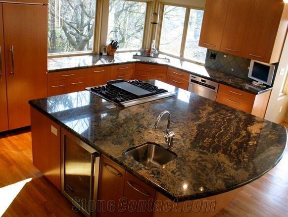 Blue Barracuda Granite Island Custom Countertops Granite Countertops Kitchen Countertops