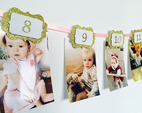 12 MONTHS PHOTO BANNER. Pink and gold. 12 months Banner. Cake Smash. Party Decorations. Birthday girl. 1st Birthday Party. Wall decoration #firstbirthdaygirl