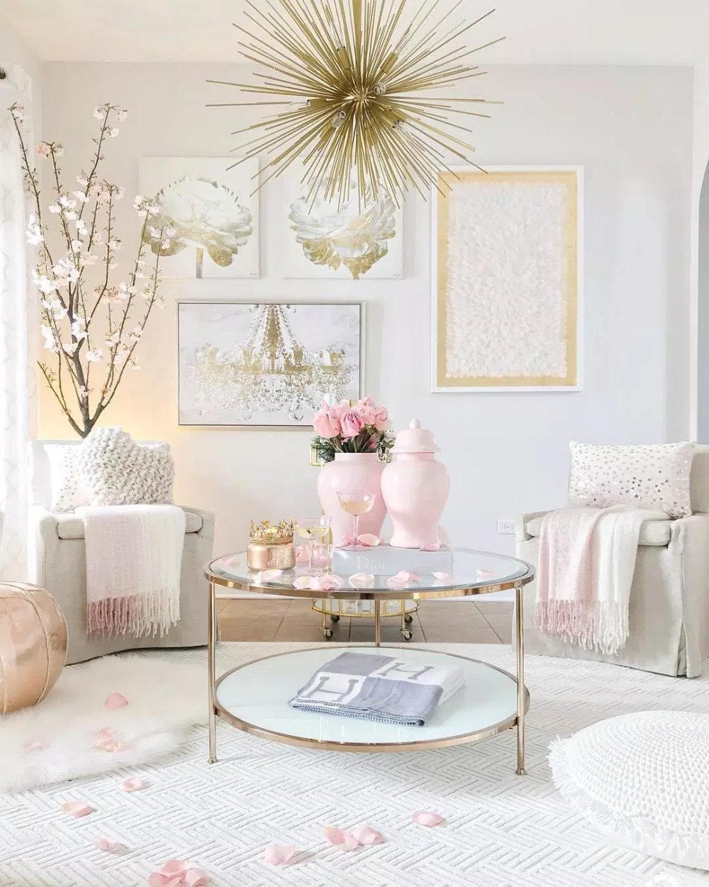 Top 11 Incredible Cozy And Rustic Chic Living Room For: Glam Blush + Gold Spring Amazing Home Tour