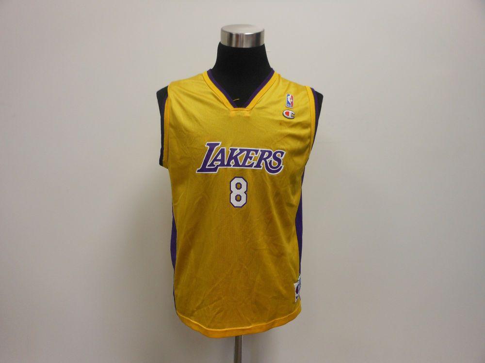 ba826ed706cf Vtg 90s Youth Champion LA Los Angeles Lakers Kobe Bryant 8 Large XL Jersey   Champion  LosAngelesLakers  tcpkickz