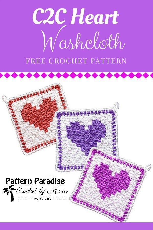 Free Crochet Pattern: C2C Heart Washcloth   Pattern Paradise #crochet #patternparadisecrochet #freepattern #washcloth #dishcloth #valentinesday