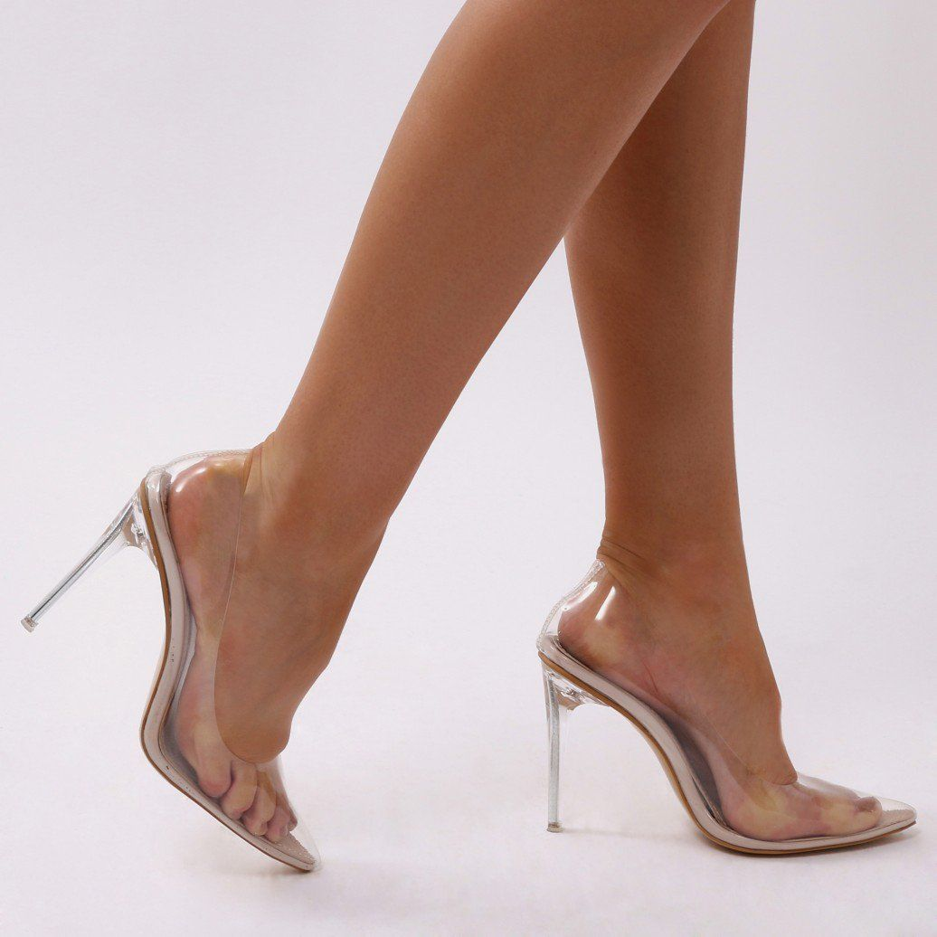 3489970f8dd Drank Clear Perspex Court Heels in Nude