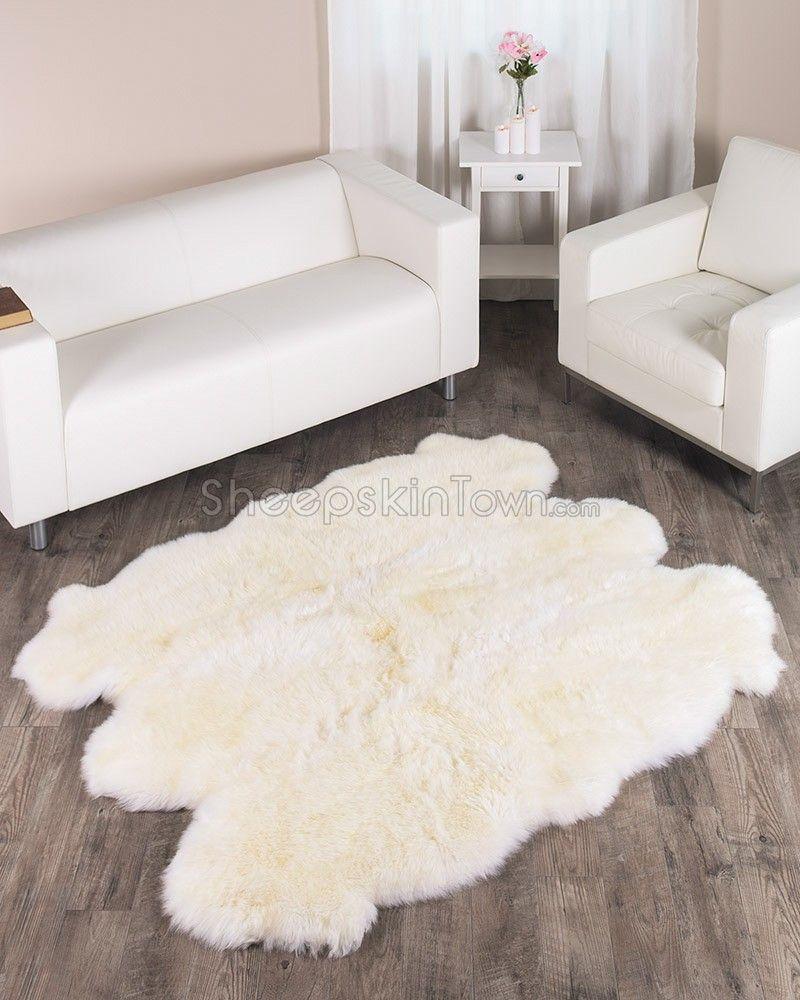 Large Ivory White Sheepskin Rug 6