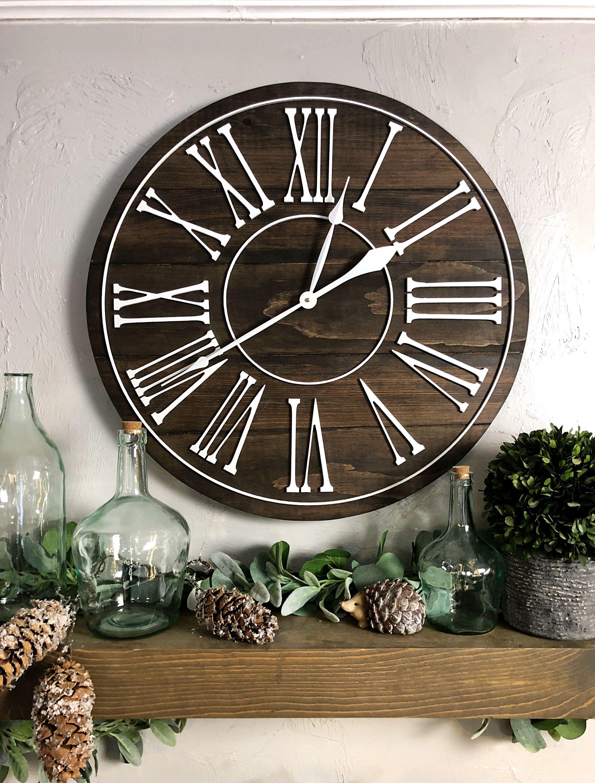 Big wall clock the summer roman numeral overlay
