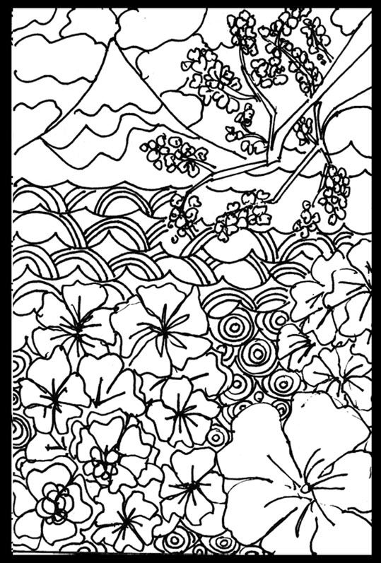 Japanese Art Coloring Pages Printable Coloring Pinterest