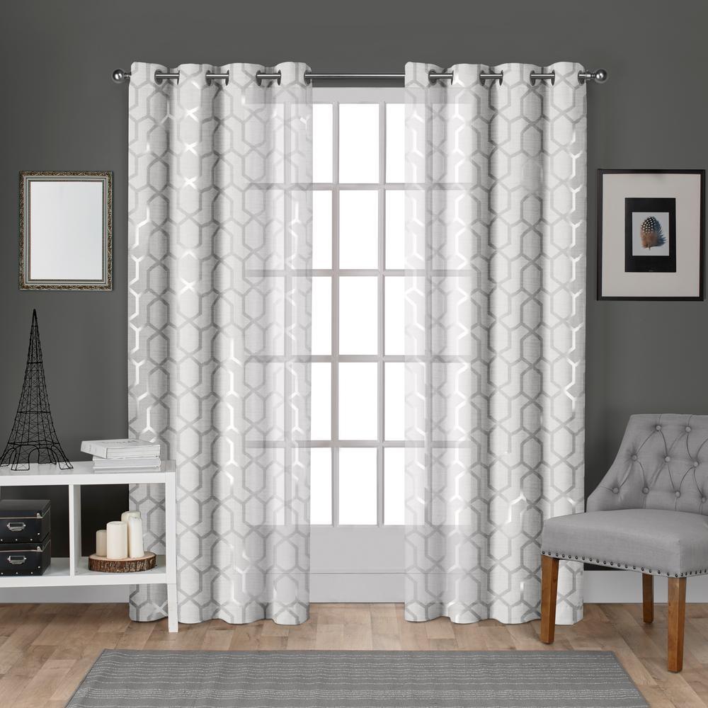 Panza 54 In W X 108 In L Sheer Grommet Top Curtain Panel In