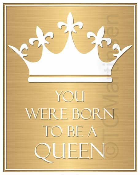 Crown Gold Quote Gift For Her Wall Art Decoration born to be a queen ...