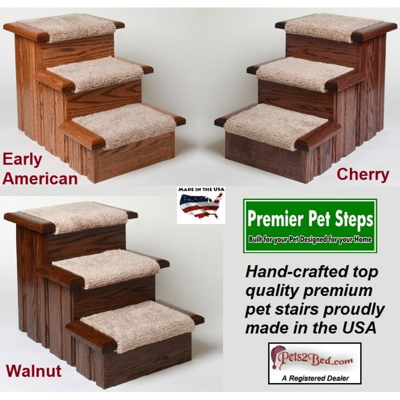 Oak Carpeted Raised Panel 3 Step Dog Stairs In Walnut Finish Pet Stairs Dog Stairs Pet Steps