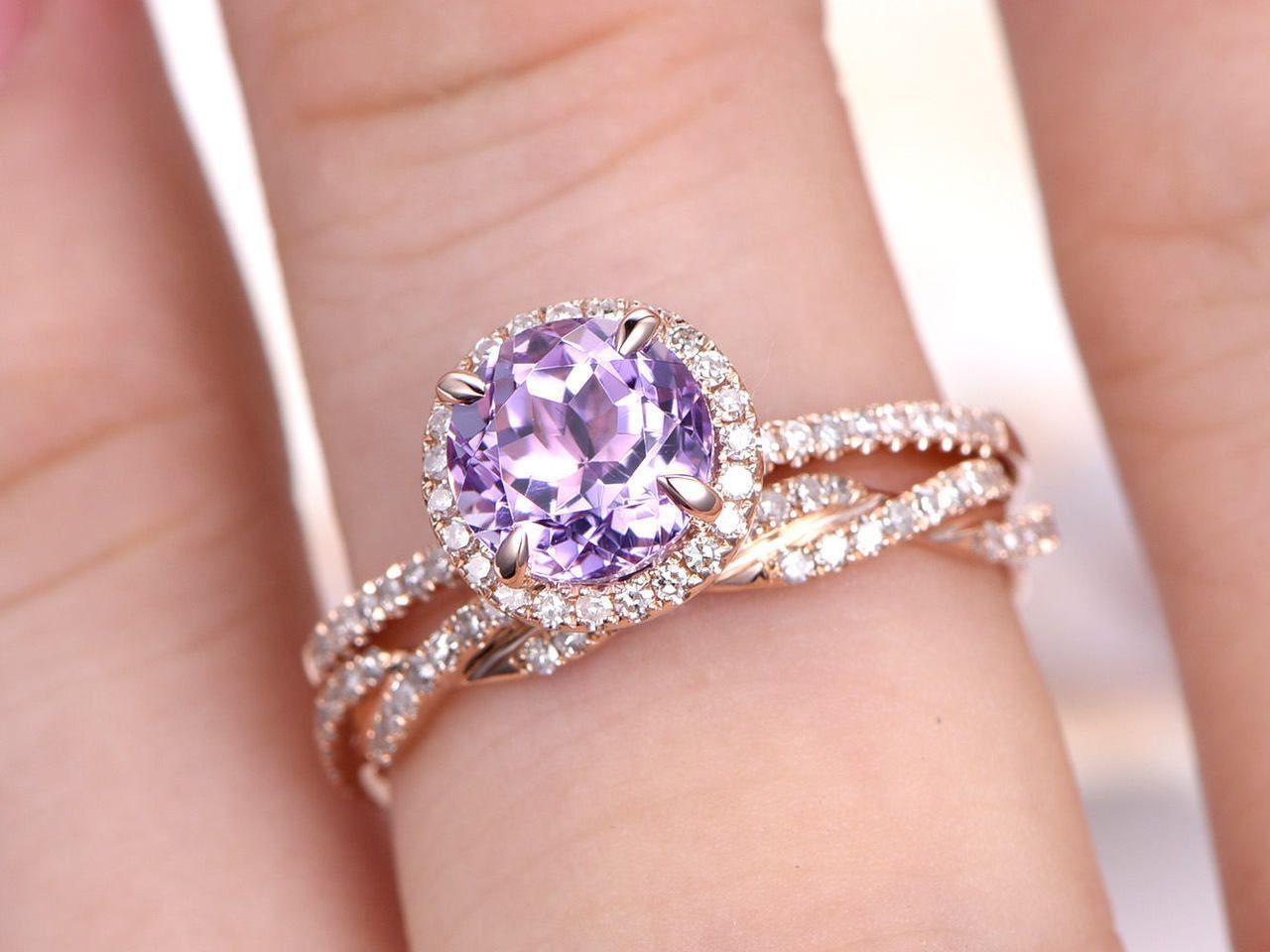 Amethyst Ring Set,Natural Amethyst Engagement Ring,6.5m Round Cut ...