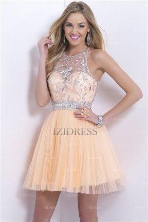 A-Line/Princess Jewel Short/Mini Chiffon Prom Dress - IZIDRESS.com ...