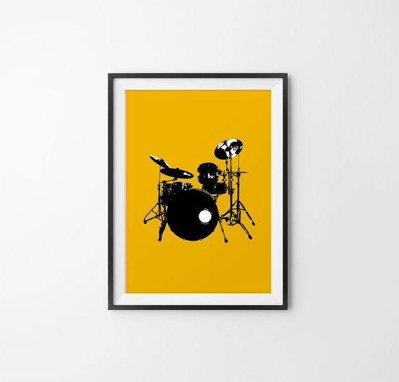 Drum Set Art on Yellow Background Drum set Wall Art by 24Palettes ...