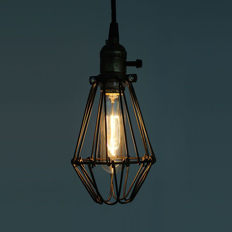 Art Deco Vintage Industrial Antico Metallo Gabbia Fabbrica Luce Del Pendente Filo Di Acciaio Para Wire Pendant Light Cage Pendant Light Iron Cage Pendant Light