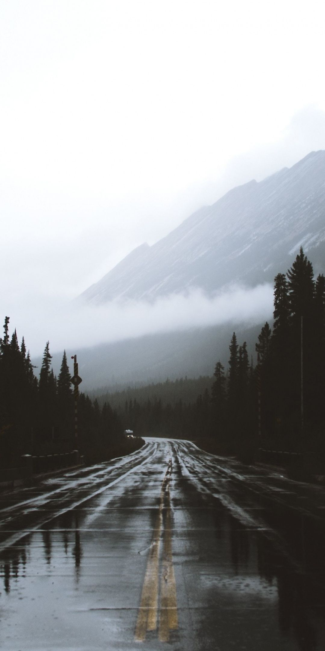 Alberta, Canada, Road, mountains, rainy day, 1080x2160