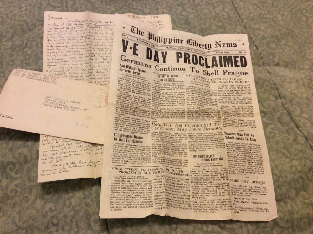 WWII letter to Pvt Paul Walsh Jackson MS 1945 w/Philippine