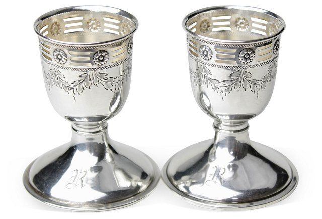 R Monogram Sterling Egg Cups,
