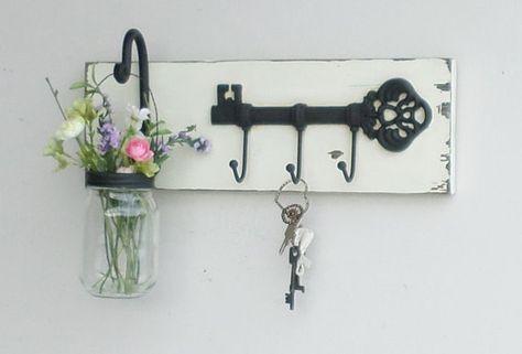 New Rustic Cottage Key Shelf Cast Iron Skeleton Key Hook