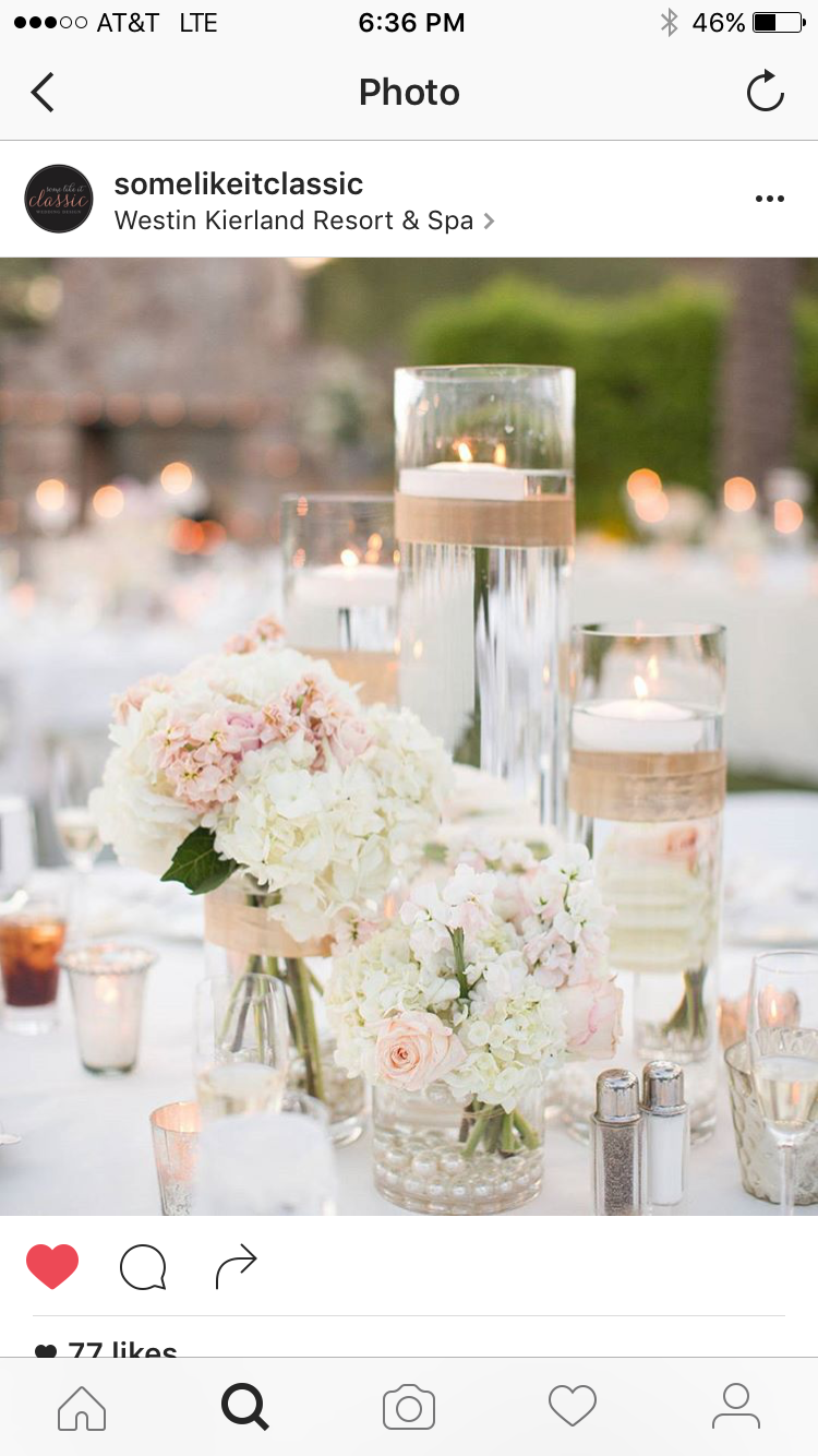 Flowers and use of votives with water | Wedding - Flowers for ...