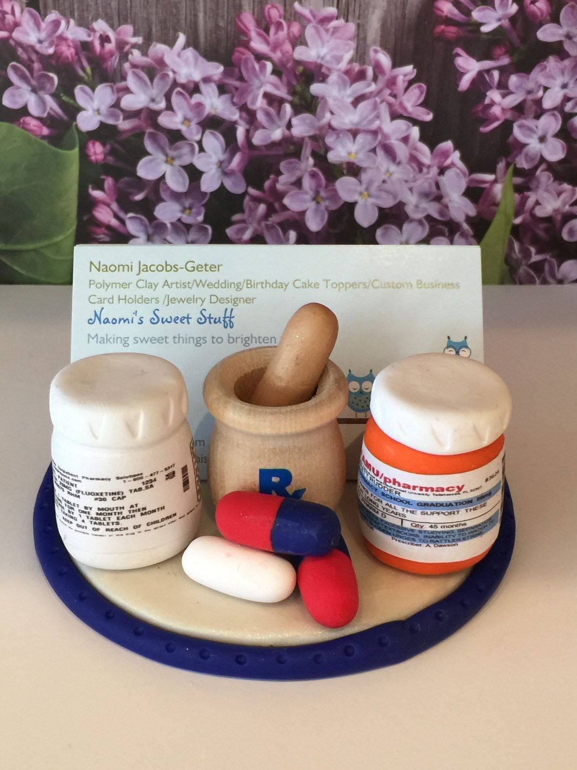 Polymer clay business card holder,pharmacist business card holder ...